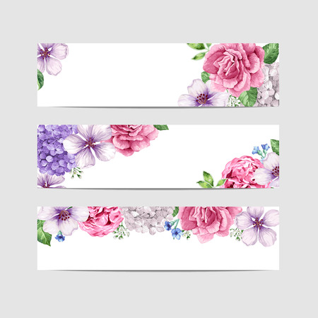 Floral banner template in watercolor style. Flowers in watercolor style isolated on white background for web banners, polygraphy, border. Art vector illustration. Ilustracja