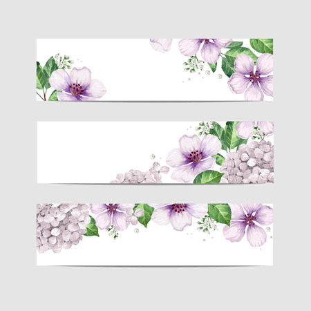 Floral banner template in watercolor style. Apple tree Flowers in watercolor style isolated on white background for web banners, polygraphy, border. Art vector illustration.