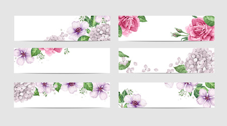 Floral banner template in watercolor style. Rose Flowers in watercolor style isolated on white background for web banners, polygraphy, border. Art vector illustration.