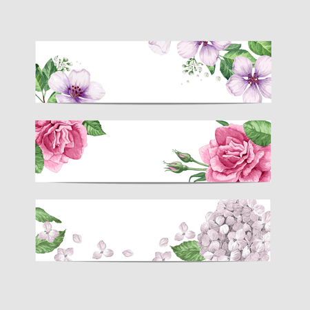 Floral banner template in watercolor style. Flowers in watercolor style isolated on white background for web banners, polygraphy, border. Art vector illustration. Illustration