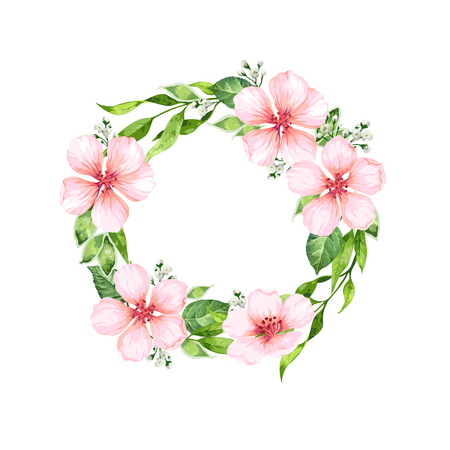Apple tree Flower frame in watercolor style isolated on white background. Template for invitation card. Square composition. Place for text.