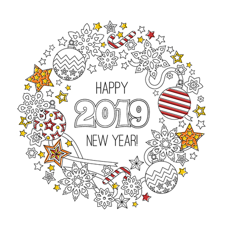 Congratulation card Happy New year 2018. Wreath consisting of christmas festive elements. Vector illustration