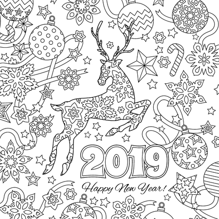 New year congratulation card with numbers 2019, deer and festive objects. Zen colorful graphic. Image for calendar, coloring book. Illustration