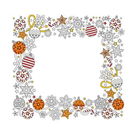 New year hand drawn square frame isolated on white background. Doodle snowflakes, fir-tree balls, ribbon decorative border. Illustration