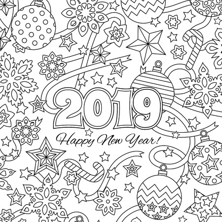 New year congratulation card with numbers 2019 and festive objects. Zen colorful graphic. Image for calendar, coloring book.