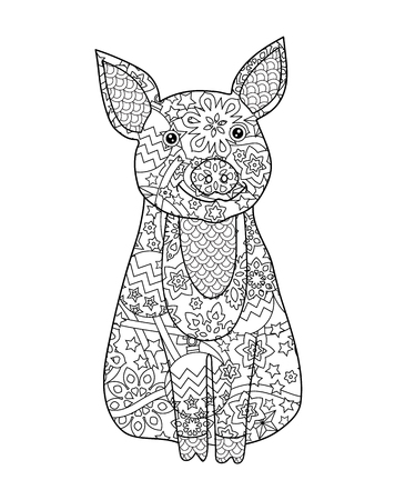 Pig, simbol of New Year 2019 in doodle style isolated on white. Coloring book page for adult and older children. 写真素材 - 123769695