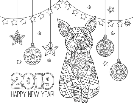 Pig, simbol of New Year 2019 in doodle style isolated on white. Coloring book page for adult and older children.