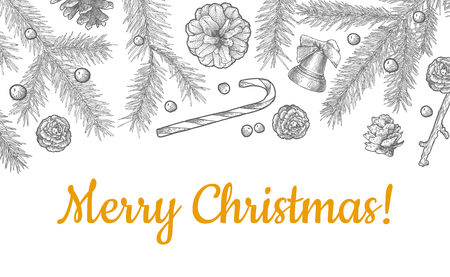 Christmas objects hand drawn seamless pattern isolated on white Illustration
