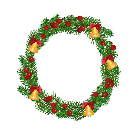 christmas wreath isolated on white background. Art vector illustration