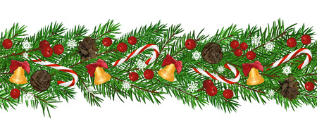 Seamless Background with realistic green fir tree branch, bell and christmas berries. Place for text, congratulation. Christmas, New Year symbol. Art vector illustration