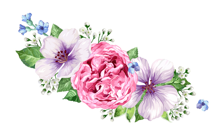 Flower frame in watercolor style isolated on white background. Art vector illustration.