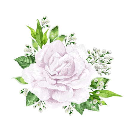 White rose flower in watercolor style isolated on white background. For greeting cards, prints. Art vector illustration.  イラスト・ベクター素材
