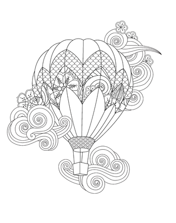hot air balloon in doodle style isolated on white. Coloring book page for adult and older children.  イラスト・ベクター素材