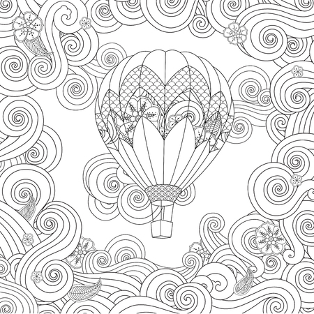 hot air balloon in doodle style isolated on white. Coloring book page for adult and older children. Illustration