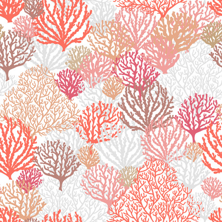 Sea reef corals seamless pattern. Marine abstract shapes. Textile, wallpaper, wrapping paper design. Art vector illustration.  イラスト・ベクター素材