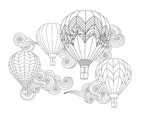 Hot air balloons in the sky. doodle style isolated on white.