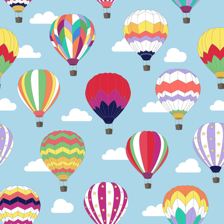 Seamless pattern with image of Hot air balloon in the sky. Illustration
