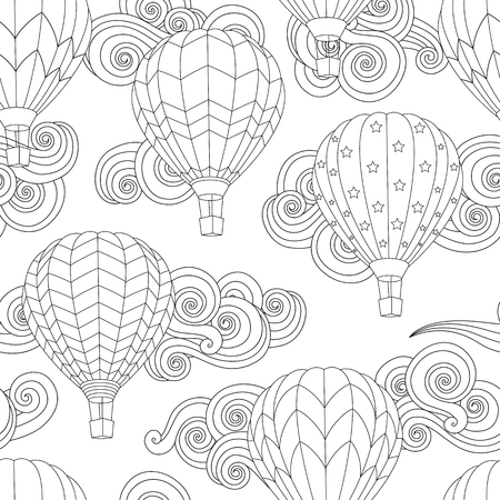 Seamless pattern with image of Hot air balloon in doodle style isolated on white.  イラスト・ベクター素材