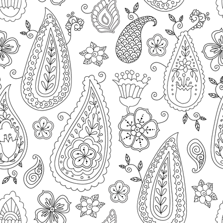 Abstract hand drawn outline doodle ornament seamless pattern with flowers and paisley isolated on white background. Coloring book for adult and older children. Art vector illustration.  イラスト・ベクター素材