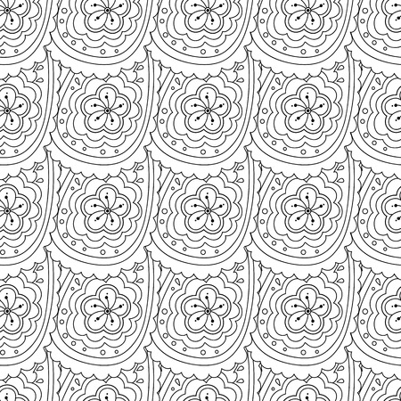 Abstract hand drawn outline doodle ornament seamless pattern isolated on white background.