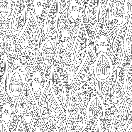 Abstract hand drawn outline doodle ornament seamless pattern with flowers and paisley . Coloring book for adult and older children.