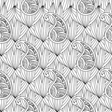 Abstract hand drawn outline doodle ornament seamless pattern with flowers and paisley isolated on white background. Coloring book for adult and older children. Art vector illustration. 向量圖像