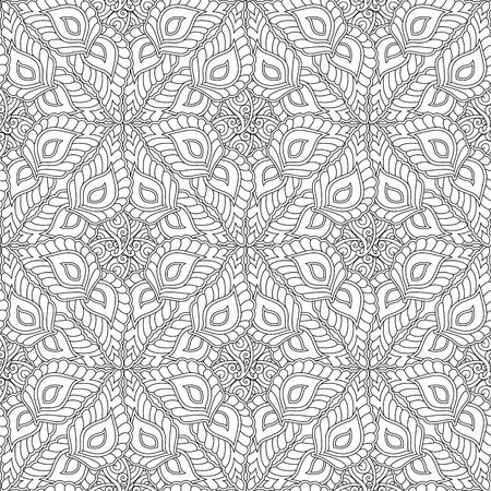 Nahtloses Muster der abstrakten Geometrieverzierung lokalisiert auf weißem Hintergrund. Malbuch für Erwachsene und ältere Kinder. Kunst-Vektor-Illustration.
