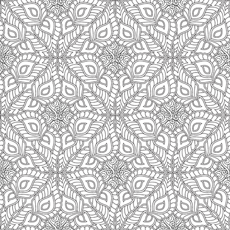 Abstract geometry ornament seamless pattern isolated on white background. Coloring book for adult and older children. Art vector illustration.