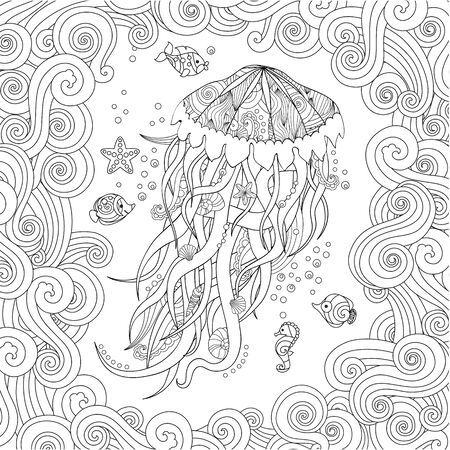 Jellyfish in  inspired style on white background. Coloring book for adult and older children. 写真素材 - 134765628