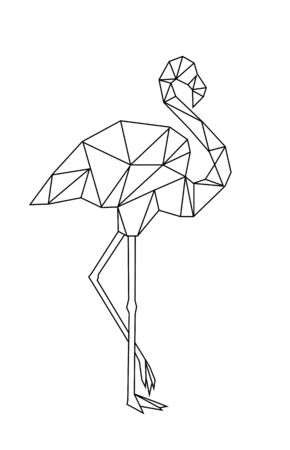 Image of Low poly flamingo isolated on white background.  イラスト・ベクター素材