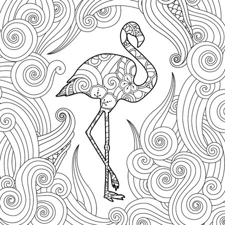 Coloring page with doodle style flamingo in  inspired style.  イラスト・ベクター素材