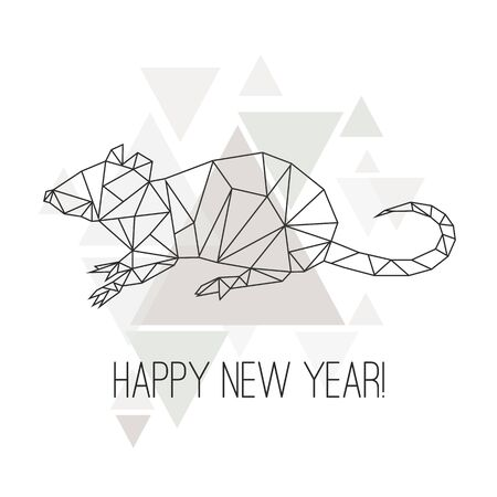 Image of Low poly rat isolated on white background.