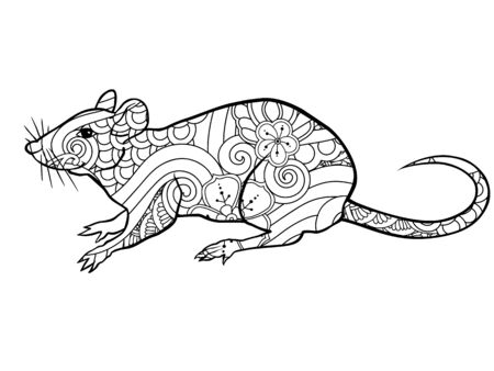 Coloring page with doodle style rat in  inspired style. Coloring book for adult and older children.