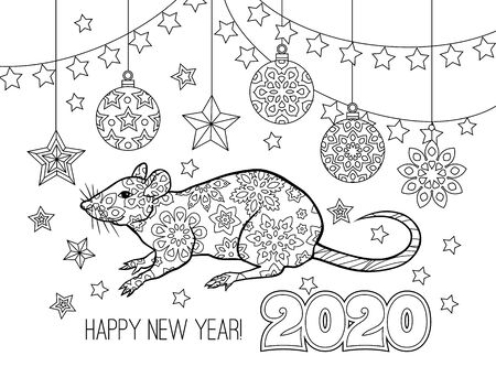 New year congratulation card with numbers 2020, rat and festive objects. Image for calendar, coloring book.