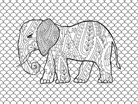 Coloring page with doodle style elephant in inspired style.