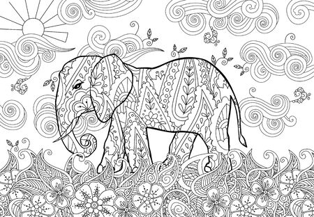 Coloring page with doodle style elephant on the meadow in  inspired style. 写真素材 - 134863046