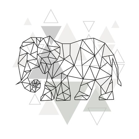 Image of Low poly elephant isolated and triangle background.