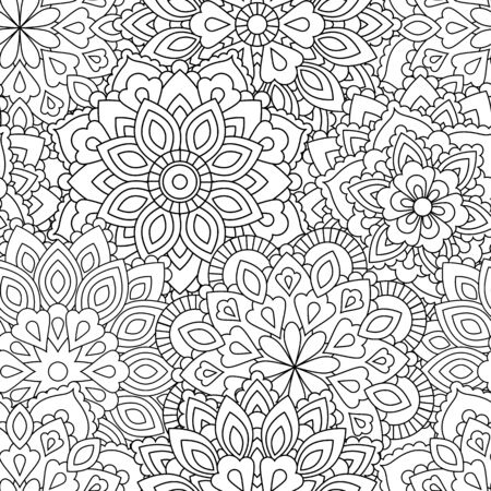 Seamless pattern of Mandala in ethnic oriental style. Decorative vintage flower for henna, yoga stuff, mehendi, tattoo, coloring book page.  inspired style.  イラスト・ベクター素材