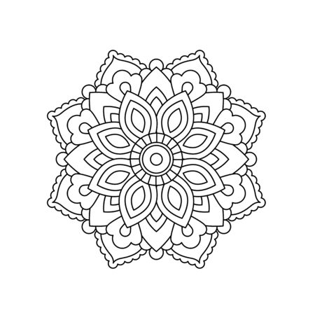 Mandala in ethnic oriental style. Decorative vintage flower for henna, yoga stuff, mehendi, tattoo, coloring book page.  inspired style.