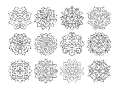Set of Mandala in ethnic oriental style. Decorative vintage flower for henna, yoga stuff, mehendi, tattoo, coloring book page.  inspired style.