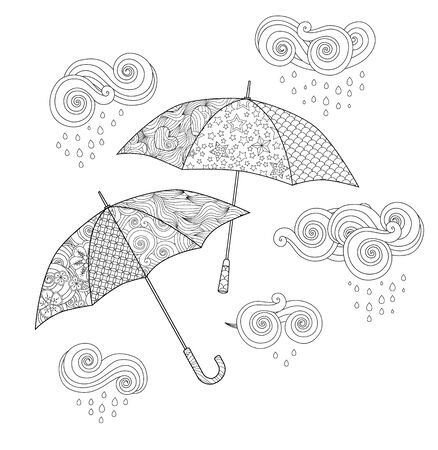 Umbrella in doodle style isolated on white. Coloring book page for adult