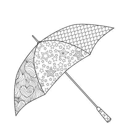 Umbrella in doodle style isolated on white. Coloring book page for adult 写真素材 - 136333129
