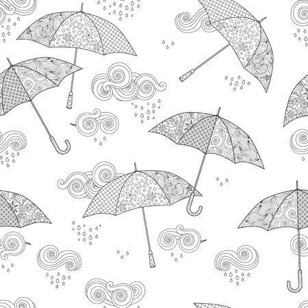 Seamless pattern with Umbrella in doodle style isolated on white. Coloring book page for adult