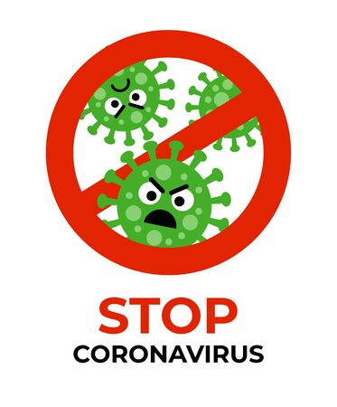 Stop coronavirus sign with bacterium cartoon gems in flat style