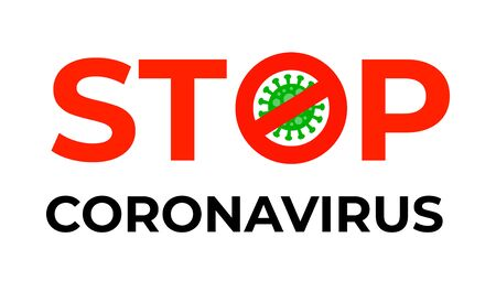 Stop coronavirus sign with bacterium gems in flat style