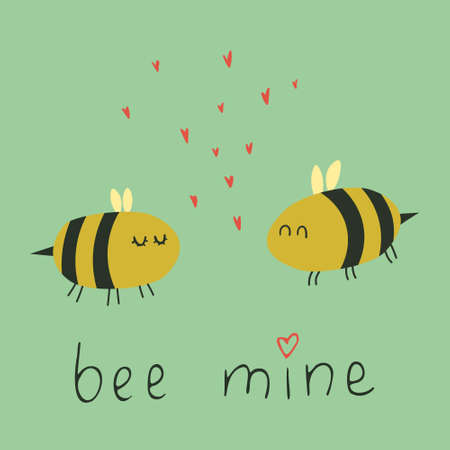 Cure bees in love witn lettering 'Bee mine'. Funny poster with bumble bees. Flat cartoon characters with doodle hearts and hand written typography. Romantic greeting card for valentines day.