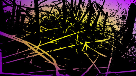 Abstract grass background. Colored texture of yellow and violet tones. A Picture includes wood, lines, spots, dirt, streaks, dotsburnt tree and coal elements.