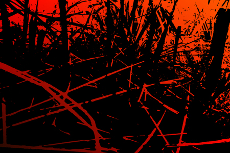 Abstract grass background. Colored texture of red tones. A Picture includes wood, lines, spots, dirt, streaks, dotsburnt tree and coal elements.