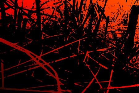 Abstrakter Grashintergrund. Farbige Textur von Rottönen. Ein Bild enthält Holz-, Linien-, Flecken-, Schmutz-, Schlieren-, punktgebrannte Baum- und Kohleelemente.