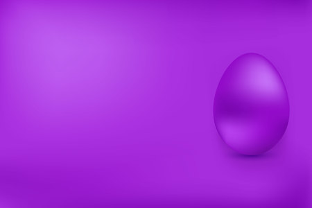 Violet chicken egg on a red background. Element for design. Happy Easter.